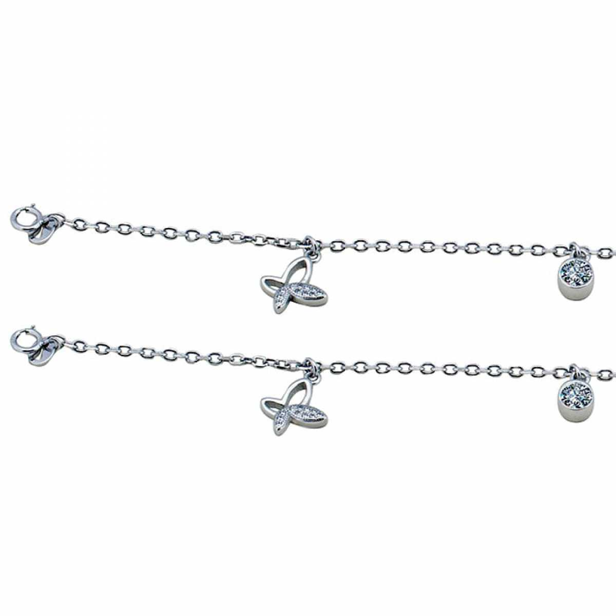 Delicate Butterfly Silver Anklet