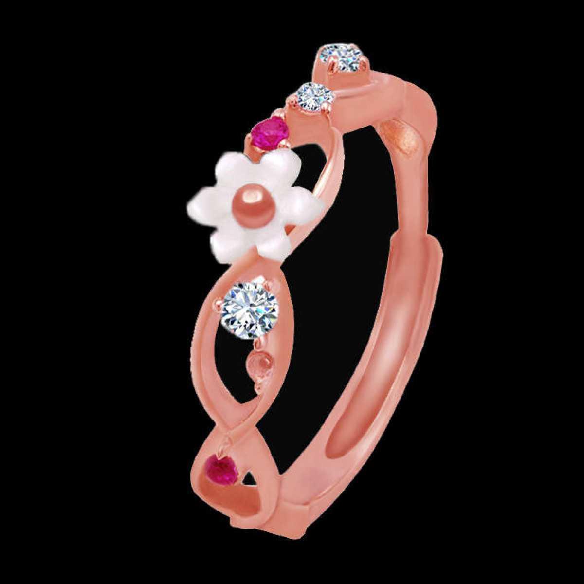 Rose-Gold White Flower Ring