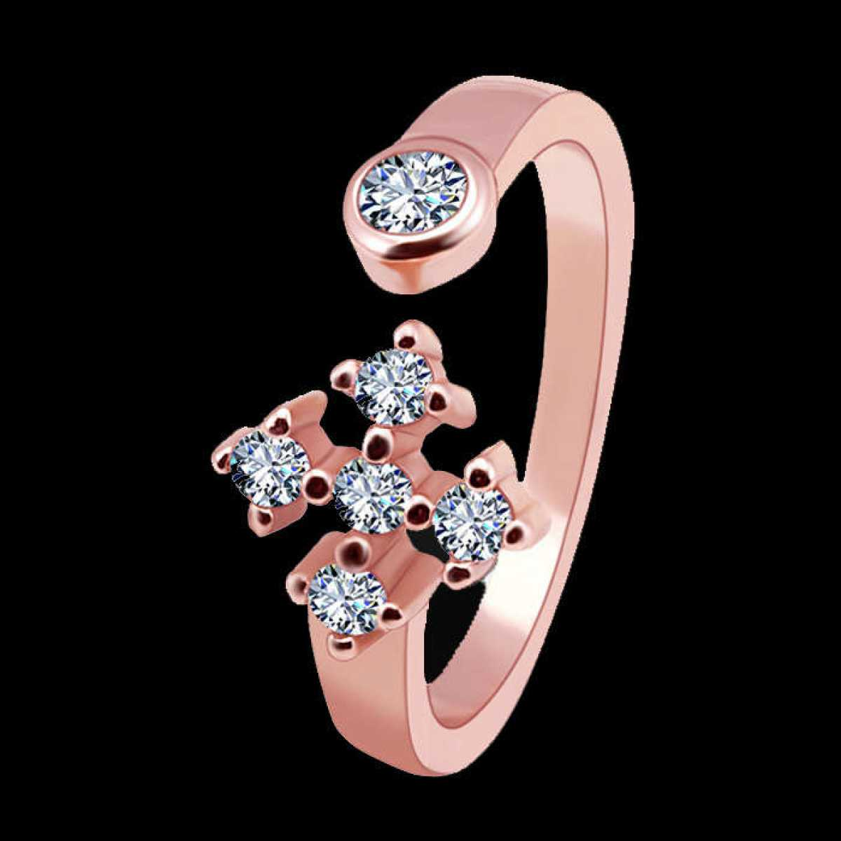Four Way Rose-gold Silver Ring