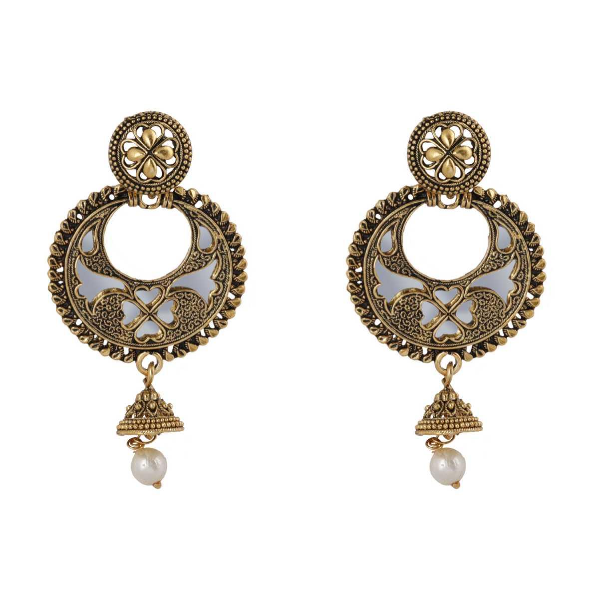 silver shine Charming Arabic Pearl Dangler