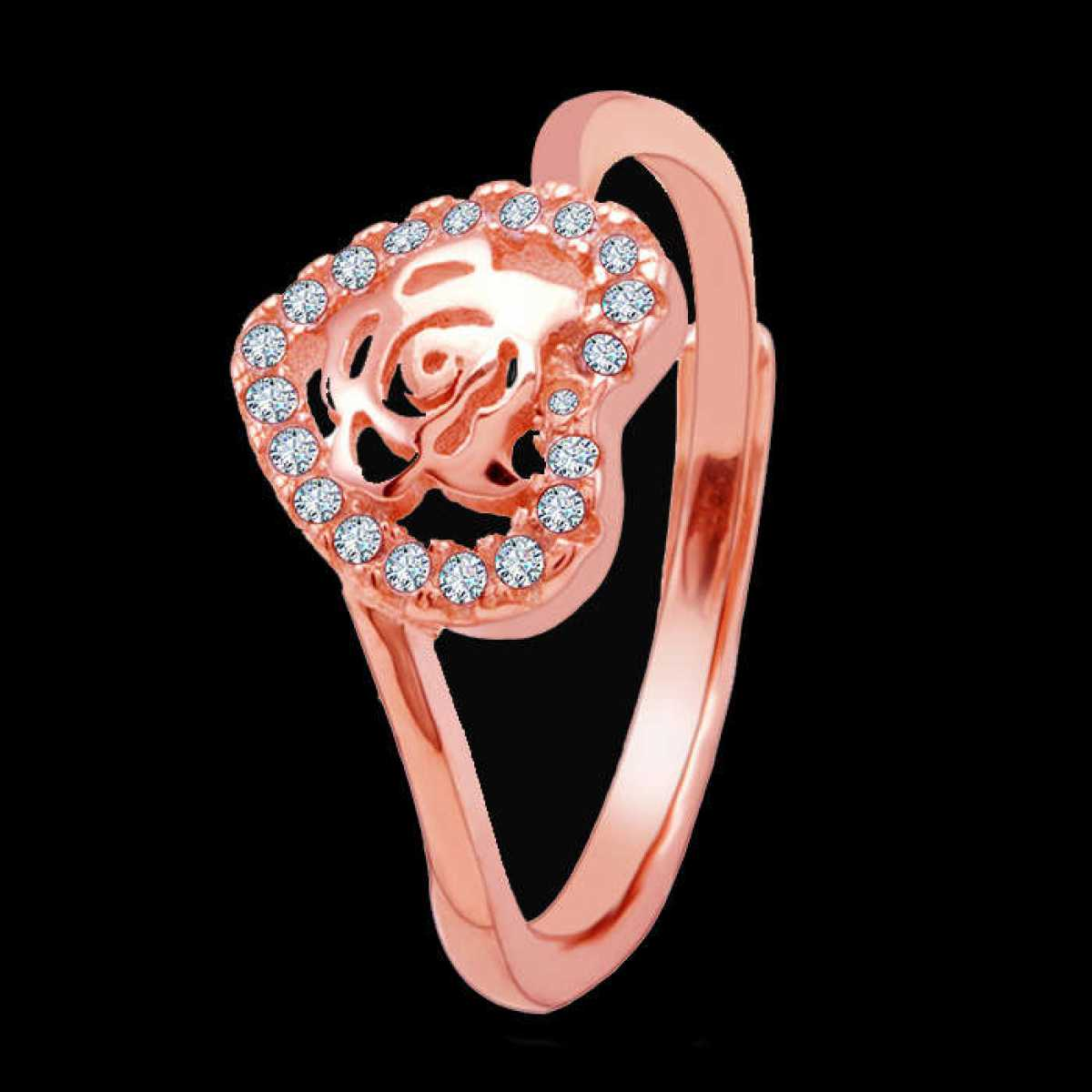 Rose In Heart Silver Ring