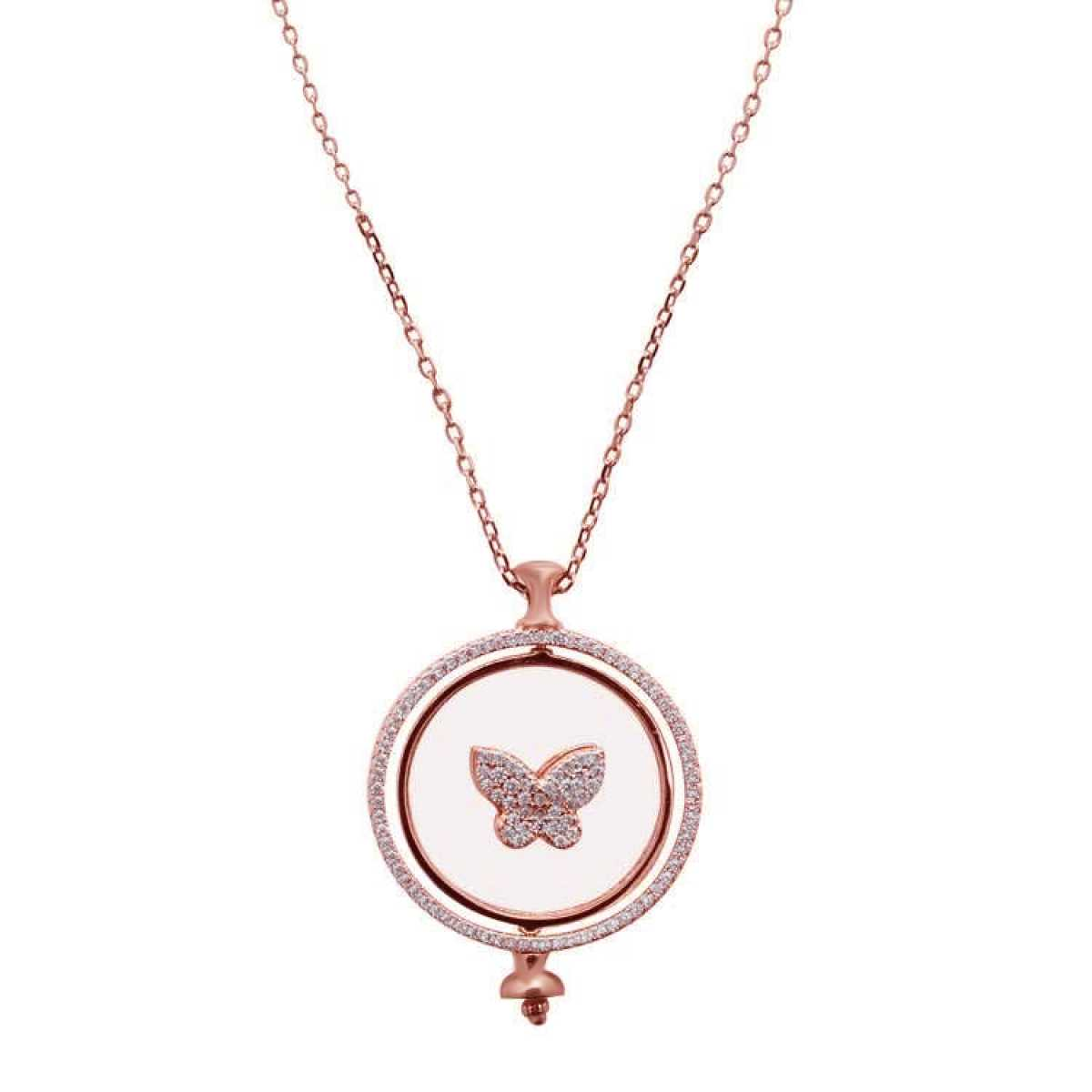 Butterfly Round Pendent Rose Gold  Chain