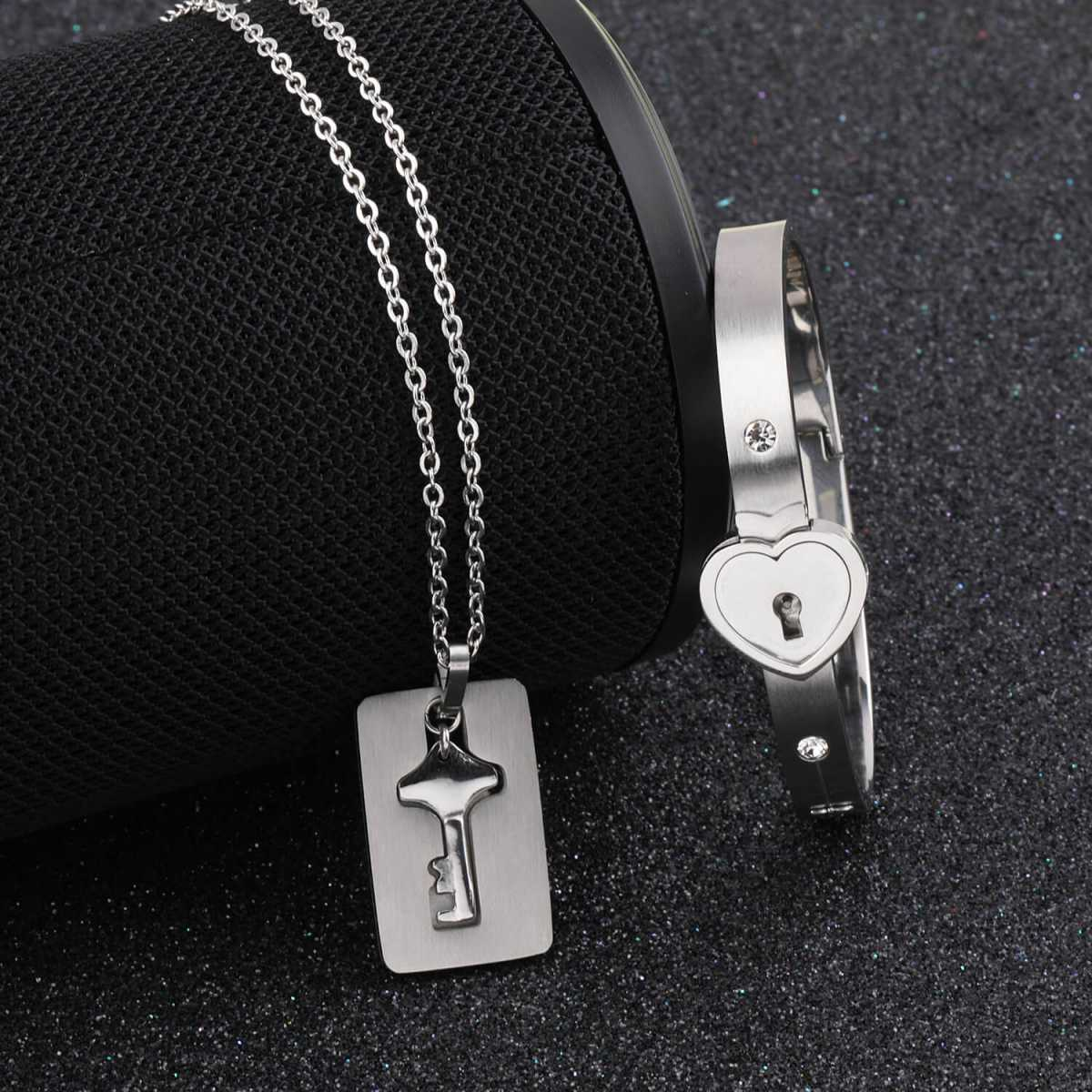Silver Shine Classic Design Heart Lock and Key Couple Bracelet Set for Couples Men and Women