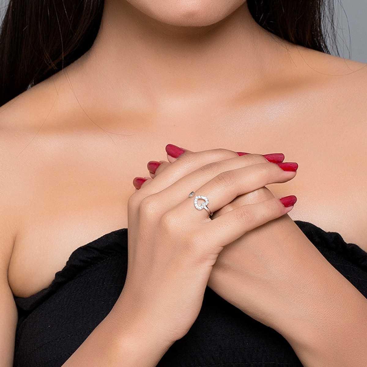 Open Heart Sterling Silver Ring