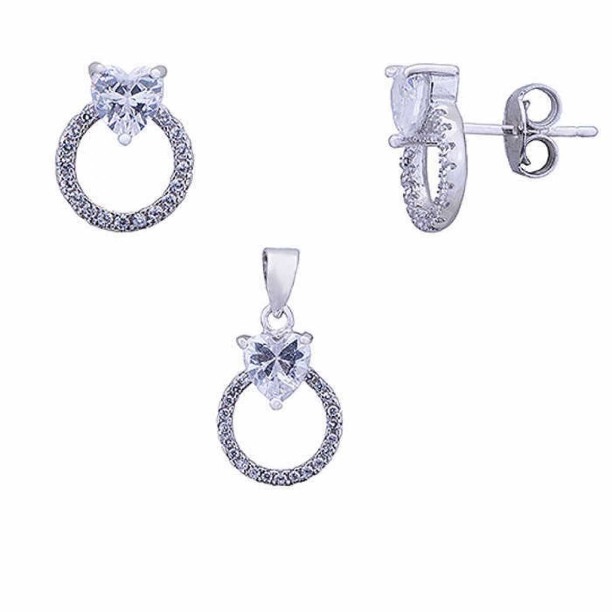 Diamond Heart With Circle Set