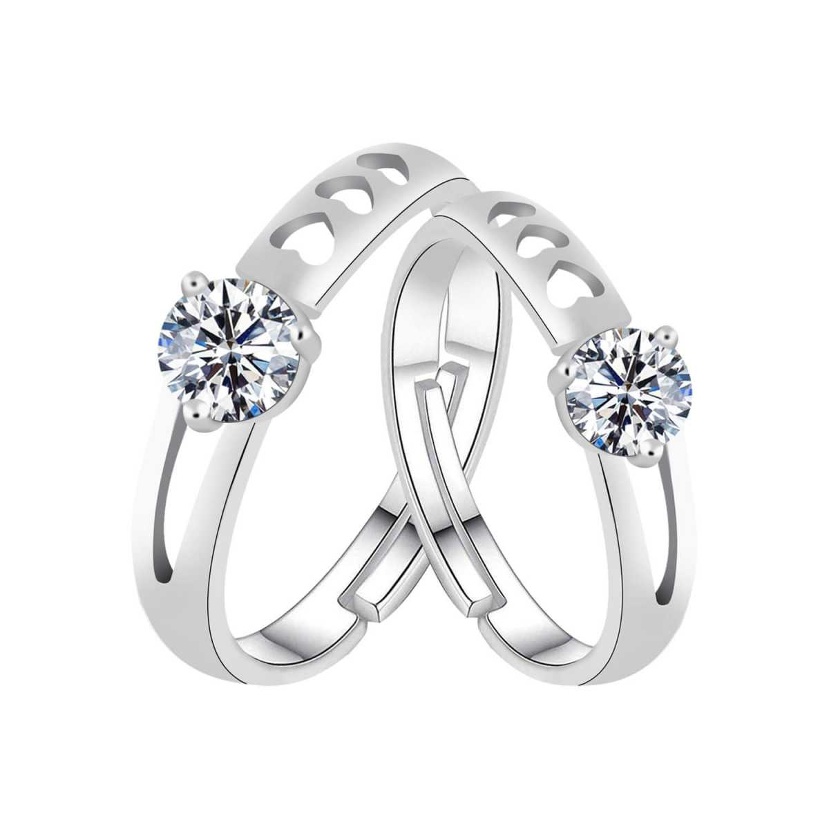 Silverplated  Antique Solitaire  couple ring For Men And Women Jewellery