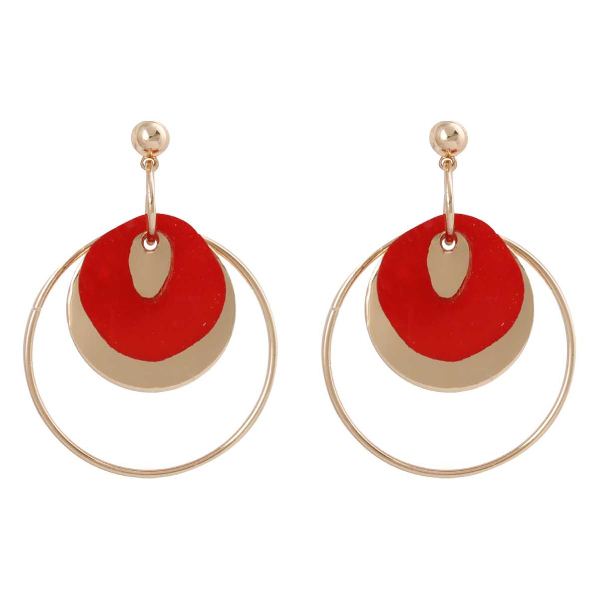 silver shine Stylish Round Red Stone