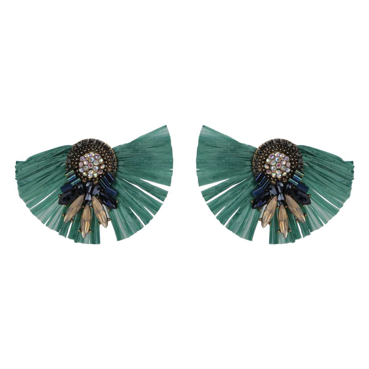 Silver Shine Beautifully Design Green Party wear Artistic Look Stud Earring For Girls And Women