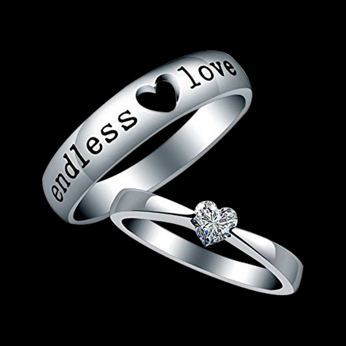 Silver Shine Silver Plated Solitaire 'Endless Love' Heart Adjustable Couple ring  for Men and Women,Couple ring for Girls and Boys-2 pieces