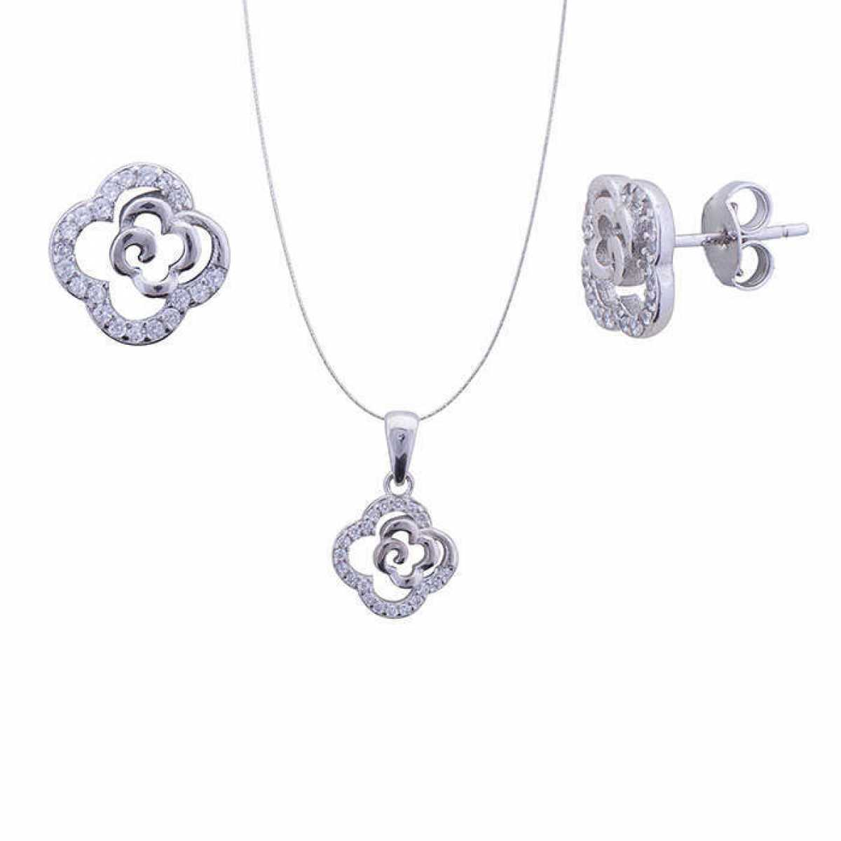 Silver Diamond Flower Pendant Set