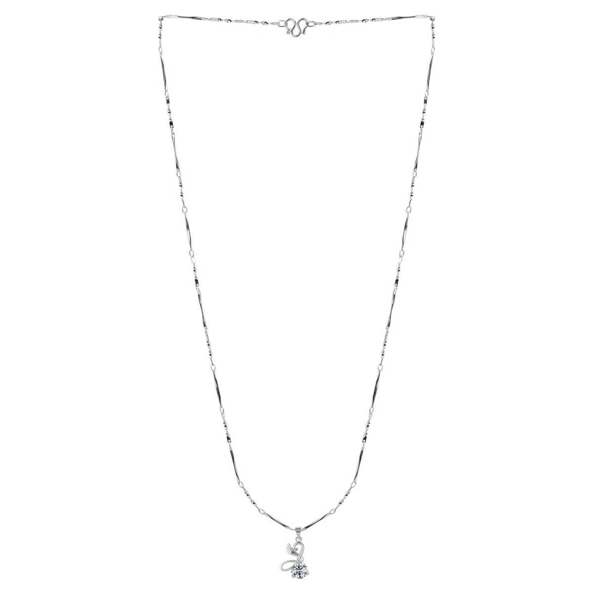 SILVER SHINE  Silver Plated Chain With Stylish Different look Solitaire Diamond Pendant For Women