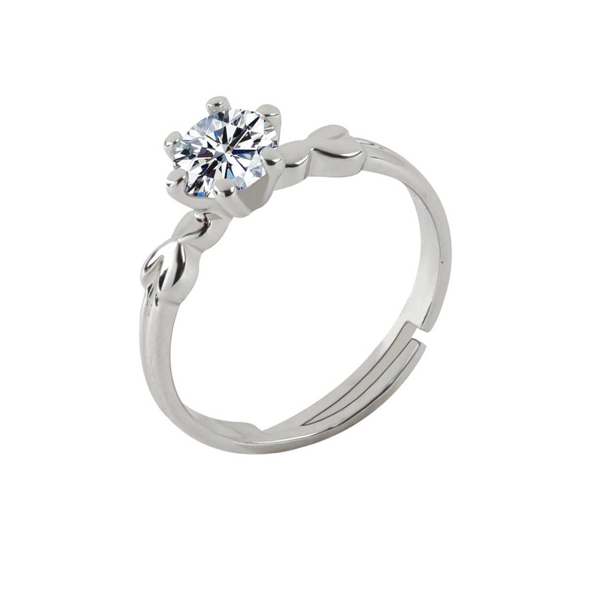 Silver Shine Silver Plated Elegant Classic Crystal Adjustable Ring for Girls