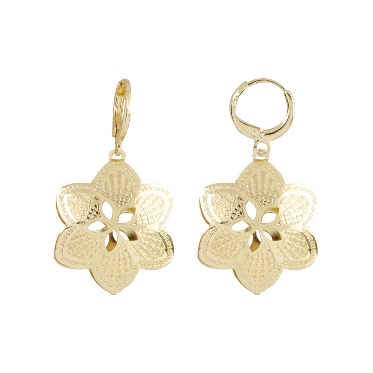 Silver Shine Classic Golden Flower Clip On Bali Earring for Women