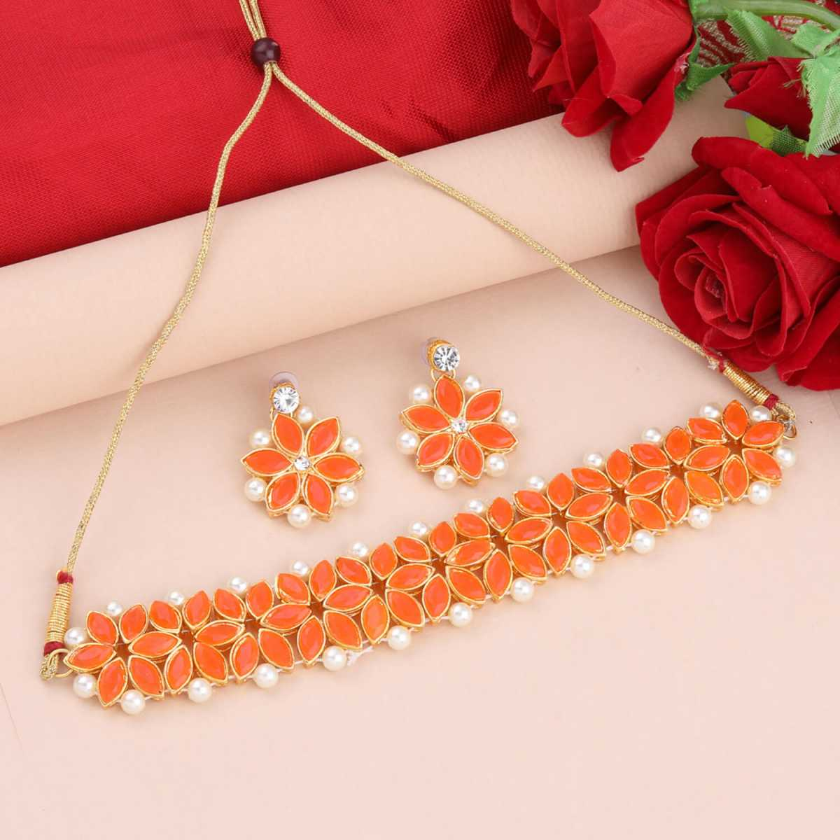 SILVER SHINE Gold Plated Exclusive Orange Stone Choker Set For Girls And Women