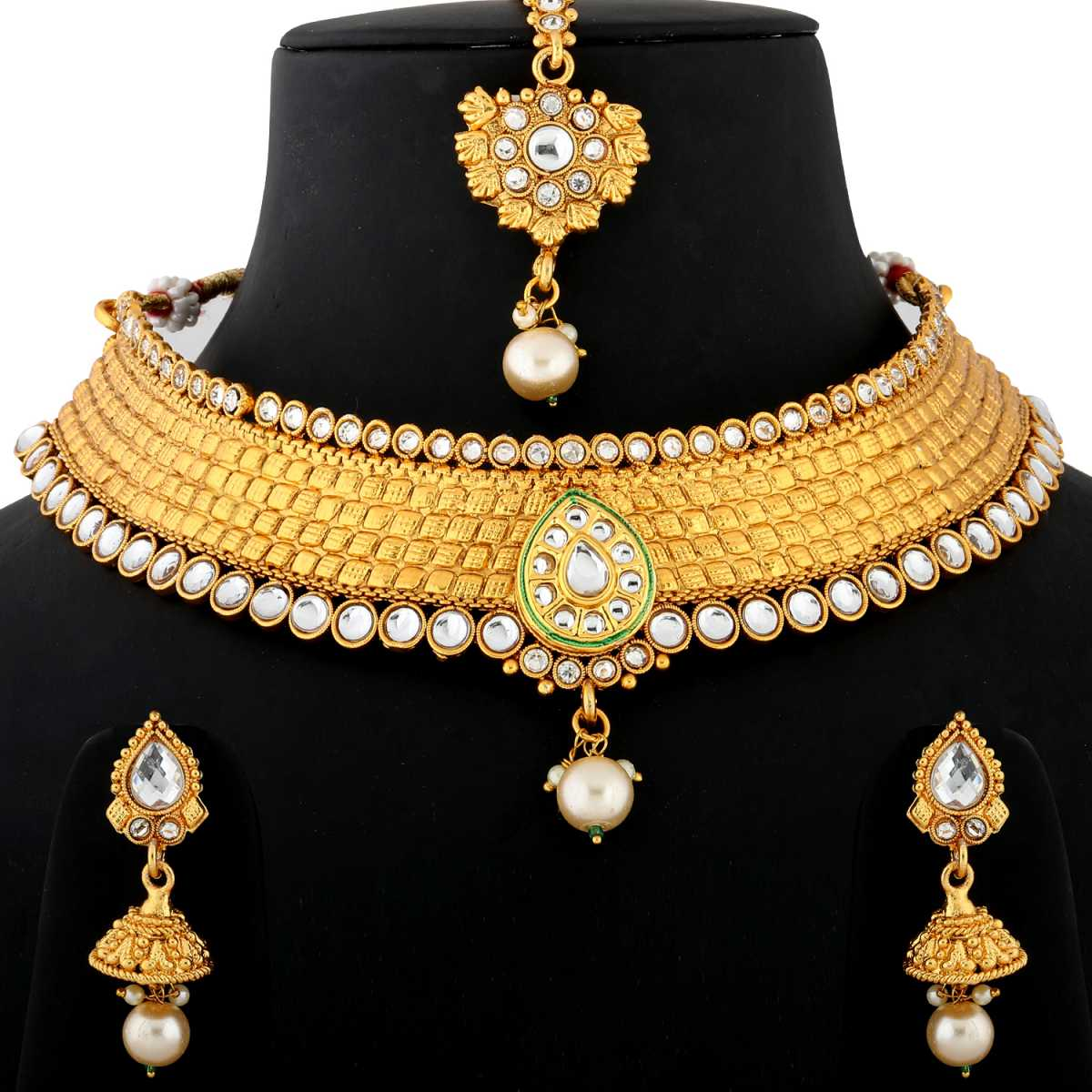 Silver Shine Exlusive Gold Plated Traditional Party Wear Single line Self Textured Diamond Studded Pearl Drop Designer Wedding Necklace jewellery set for Girls And Women