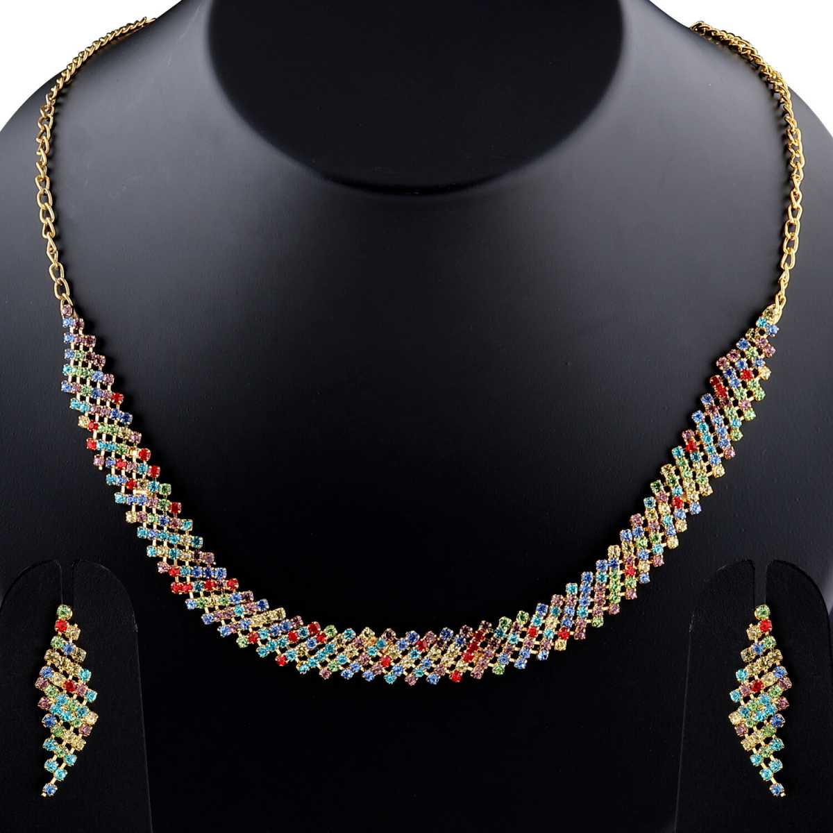 Traditional Designer Partywear Multi colour Diamond Studded Necklace Set For Women Jewellery Set