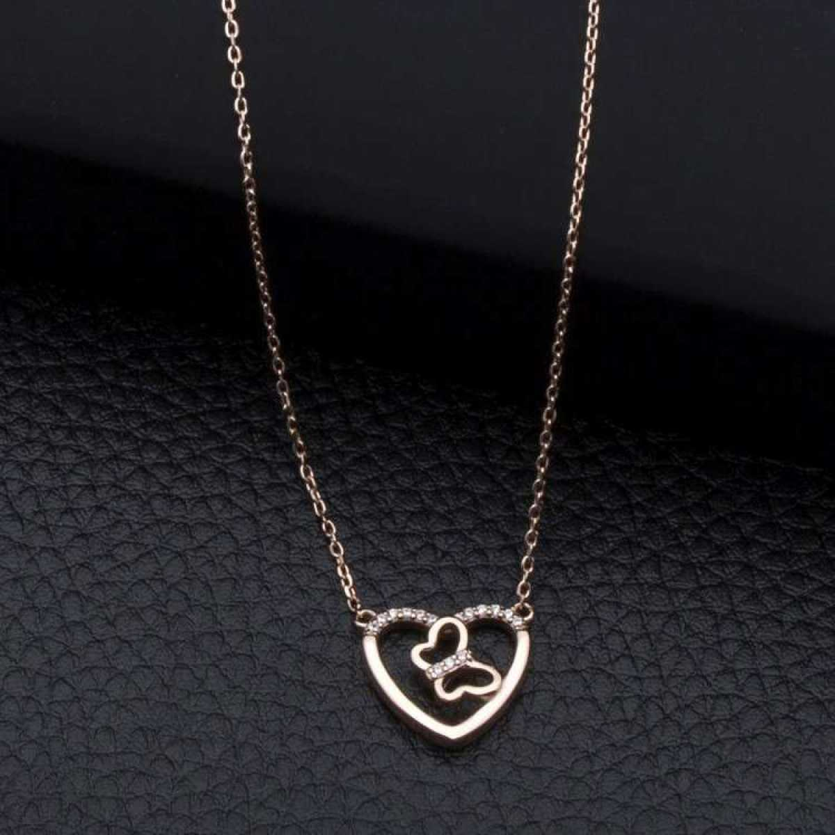 Cute Butterfly In Heart Rose Gold  Chain