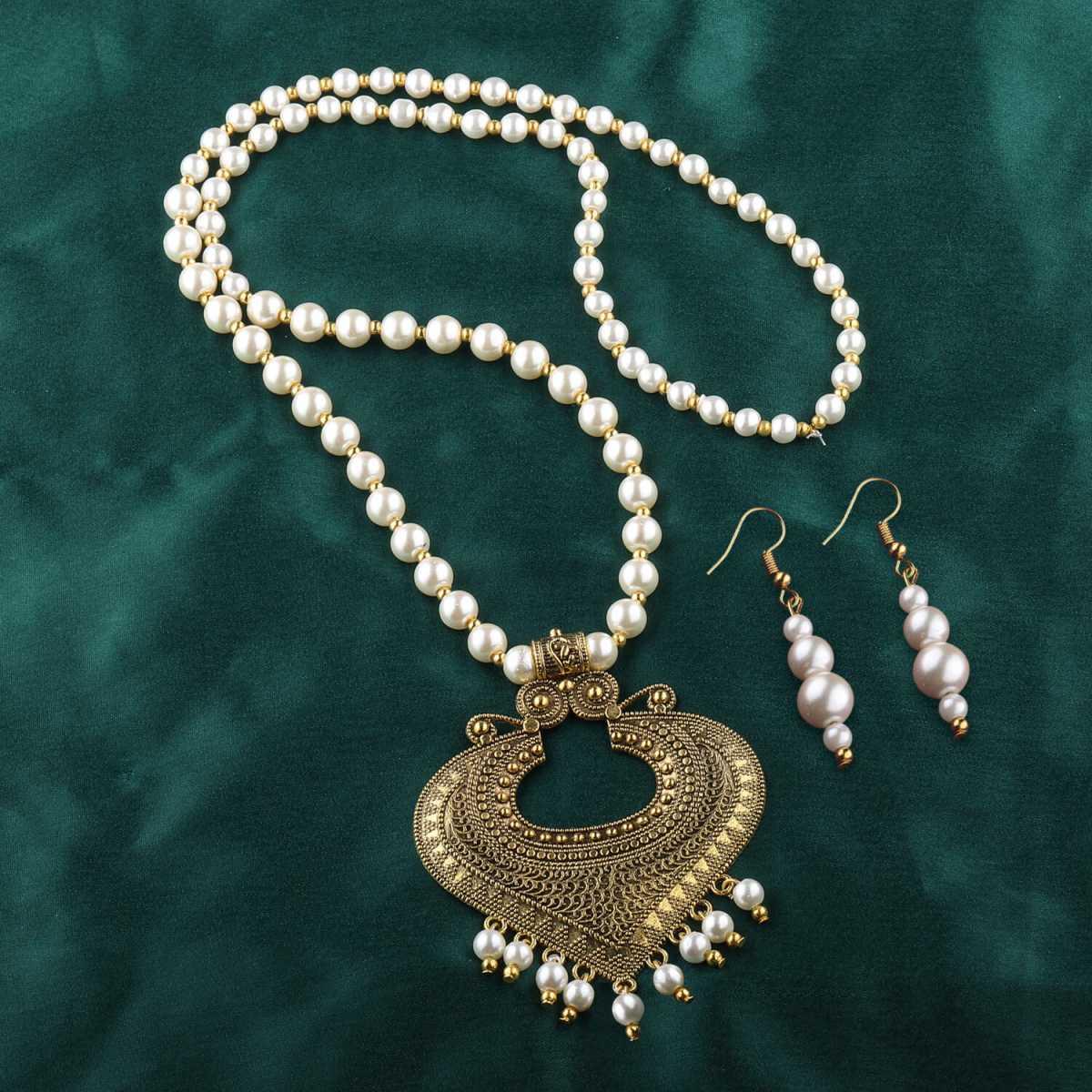 Goldplated Designer Traditional Spade Design Long Pearl Drop