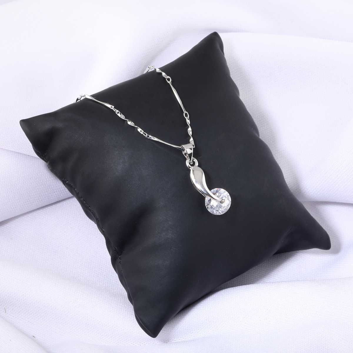 Silver Plated Chain With Unique Solitaire Diamond Pendant  For Women