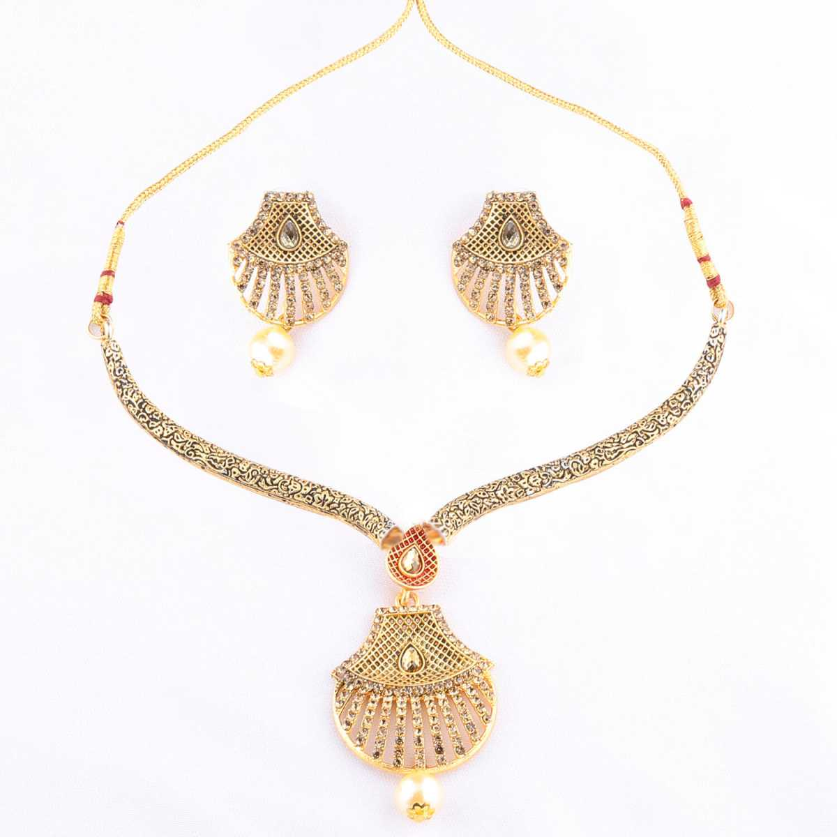 Elegant Traditional GoldPlated Diamond Studded Pearl Drop Hasli Necklace Set for Women Jewellery