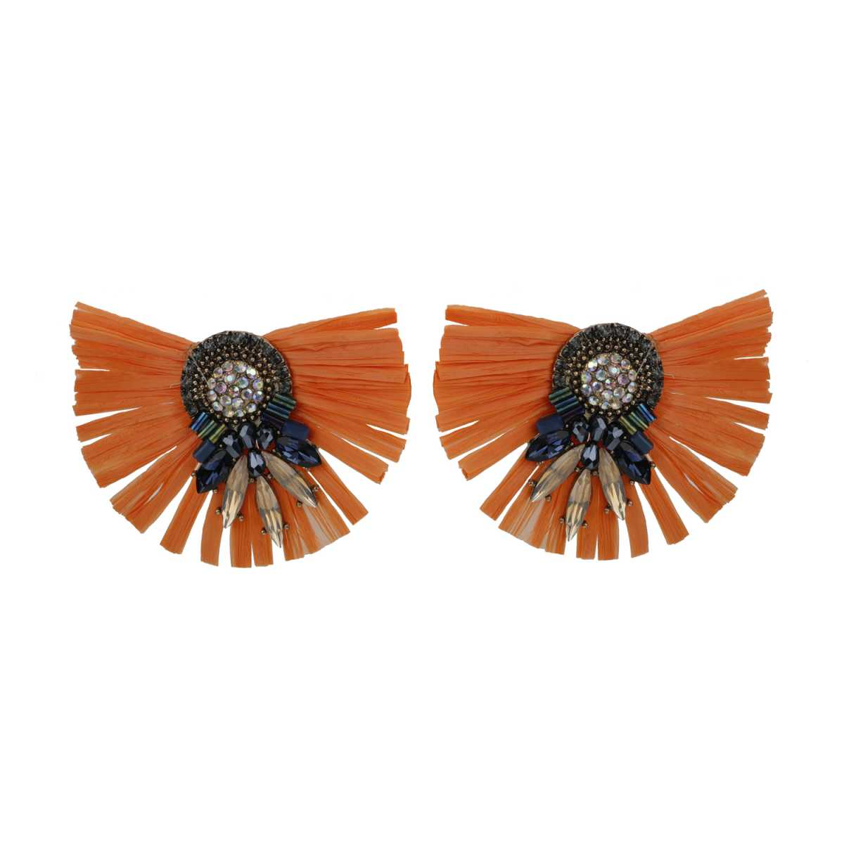 Silver Shine Artistic Orange  Beautifully Design Earring With Shiny Beads For Women