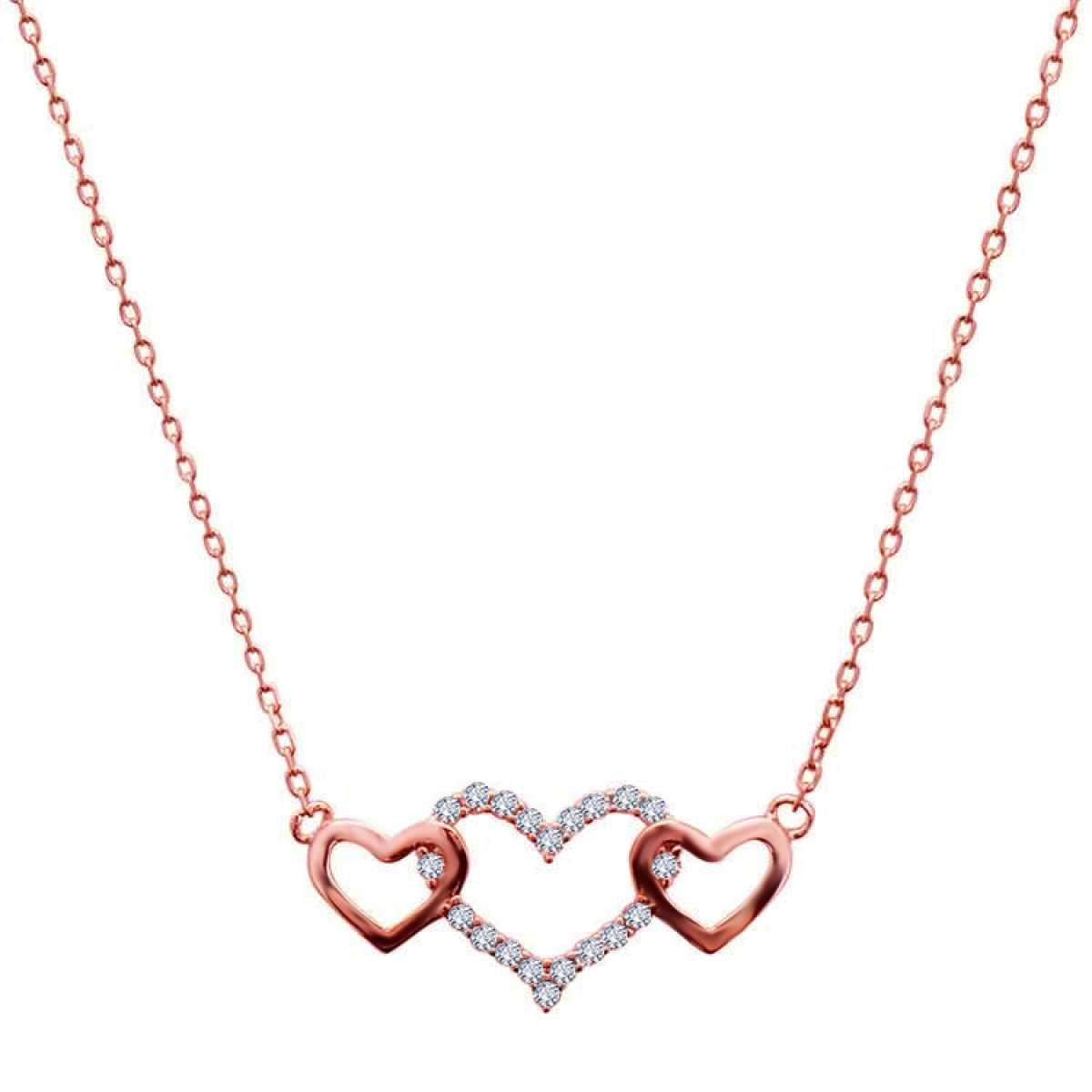 Three Heart With Diamond Rose Gold  Chain