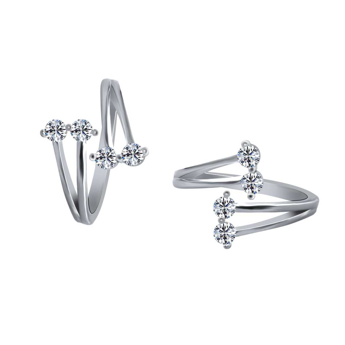 Eye-Catching Four White Diamond  Toe Rings