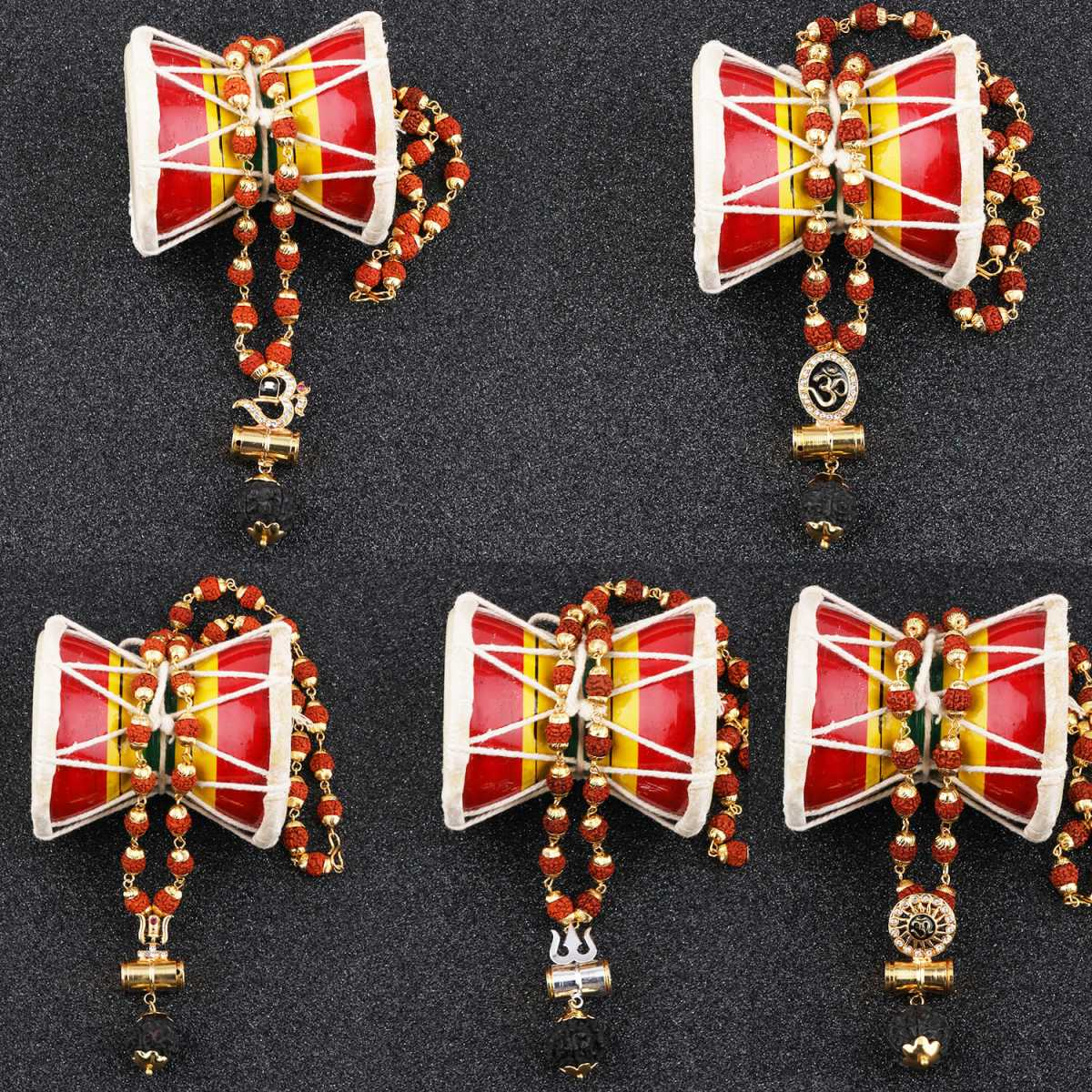 Gold Plated Traditional Combo Rudraksh Mala Pendant  for Men and Women-set 5