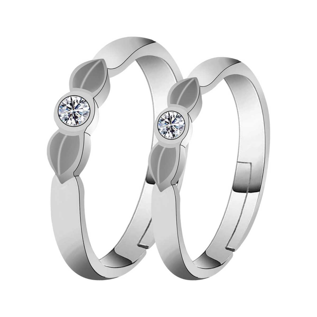 Silverplated  Solitaire Leafy couple ring For Men And Women Jewellery