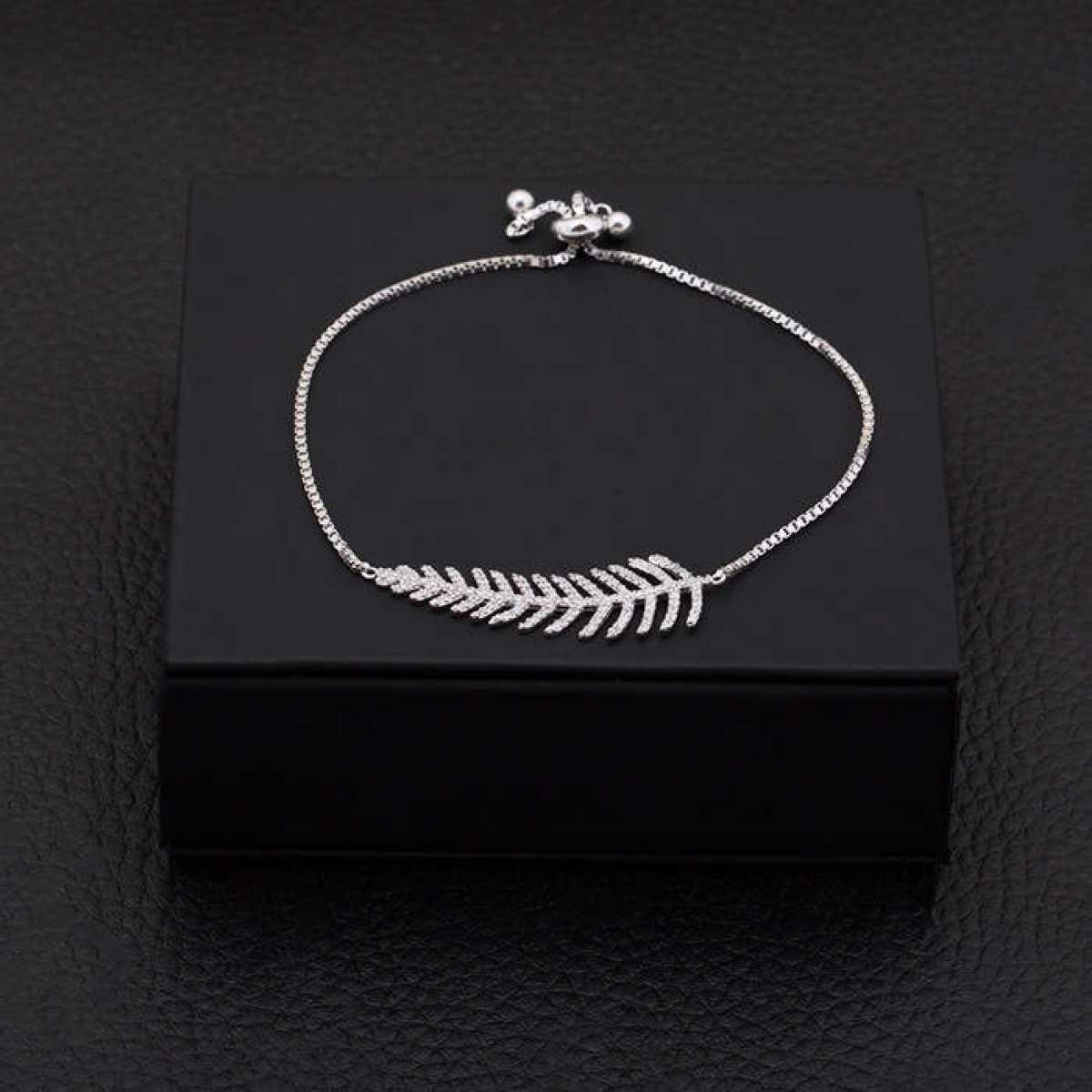 Charm Leaf Sterling Silver Bracelet