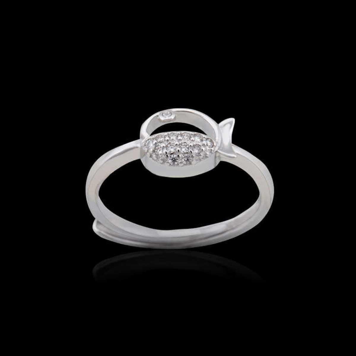 Diamond Fish Silver Ring