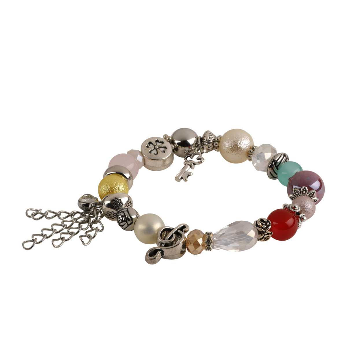 Three Way Charm Bracelet In Glass Beads And Metallic Chain For Girls And Women