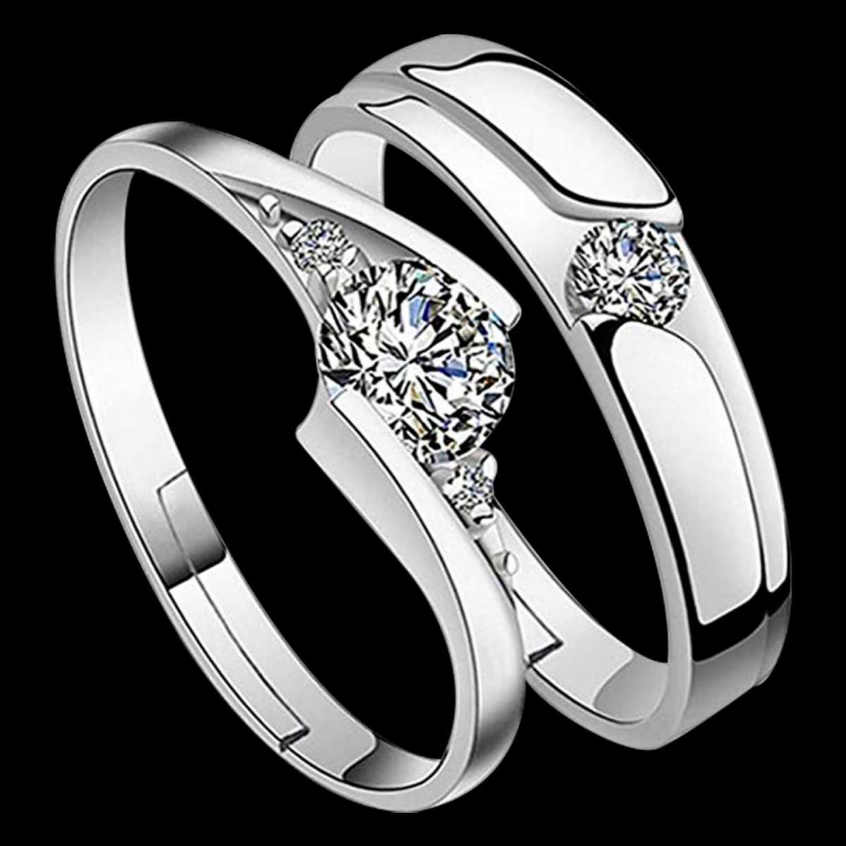 silverplated Gorgeous diamond  His and Her Adjustable proposal Diamond couple ring For Men And Women Jewellery