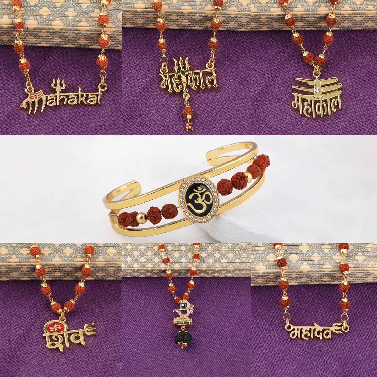 SILVER SHINE Gold Plated Traditional Combo Rudraksh Kada And  Mala Pendant for Men and Women-set 7