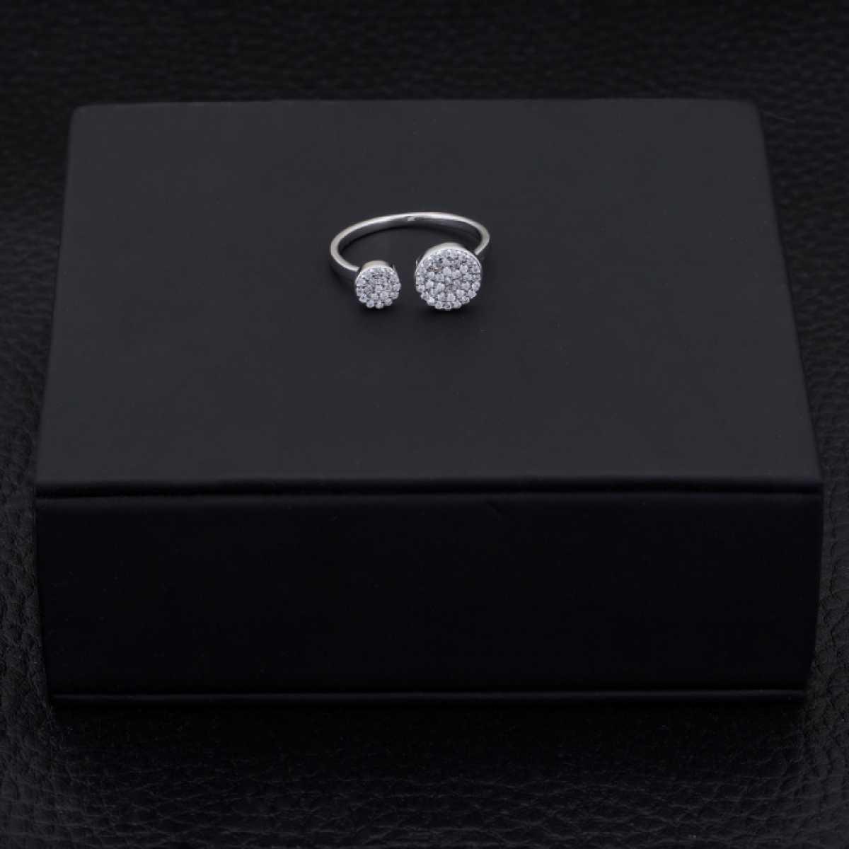 Open Circle Diamond Silver Ring