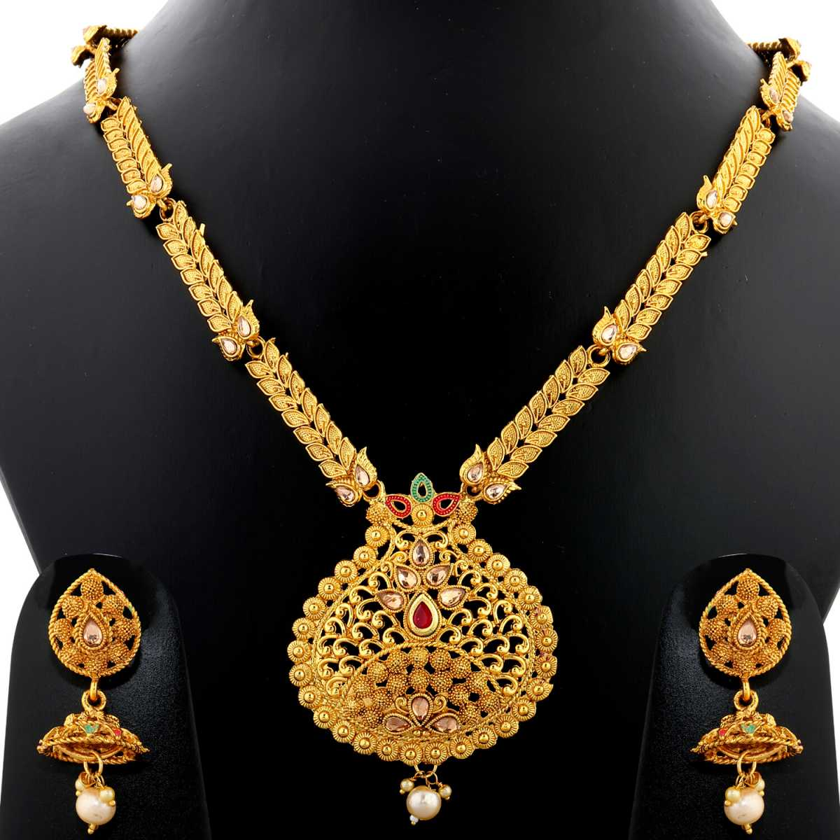 Silver Shine Exclusive Gold Plated Traditional Unique Self Textured Stone Studded Ethnic Gold Colour Long Necklace Set  Jewellery For Women And Girls