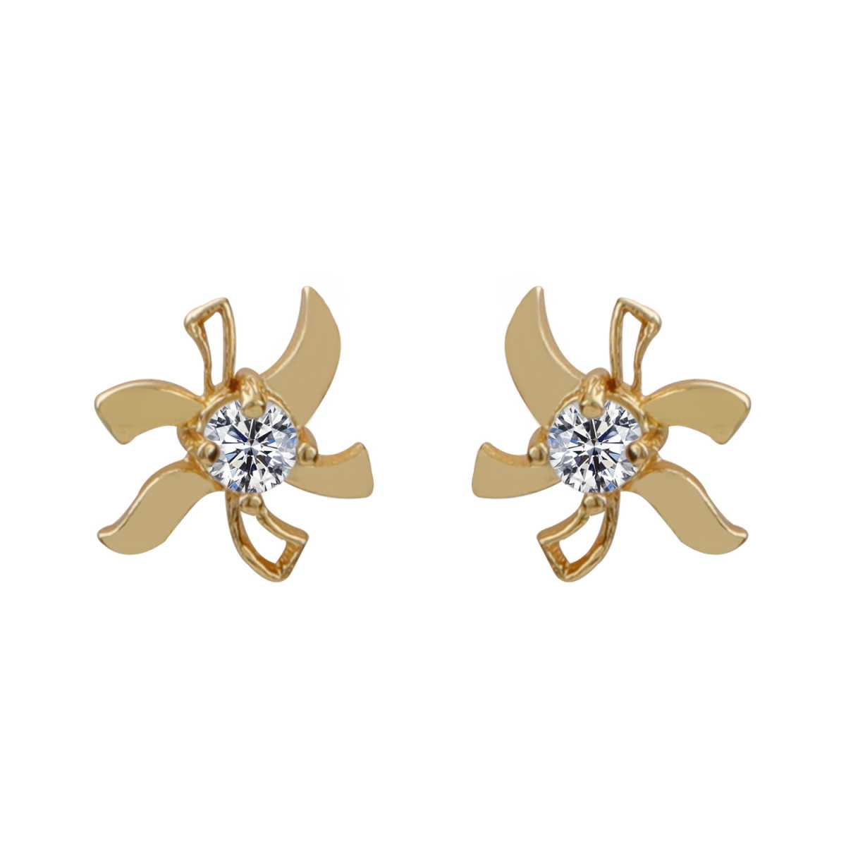 Silver Shine Dazzling Gold Unique Lily Flower Design Stud Earring With Diamond For Girl And Women
