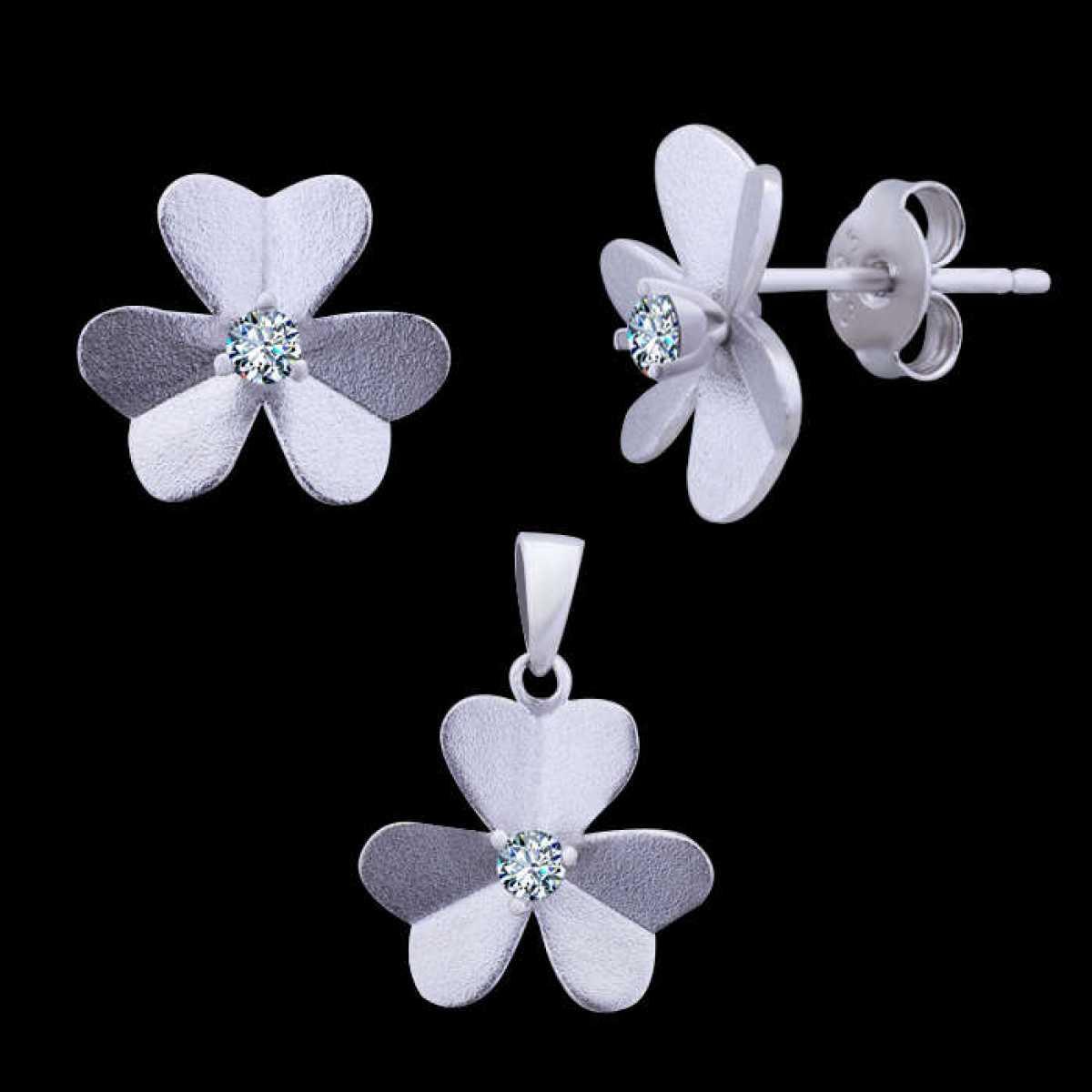 Silver Flower Pendant Set
