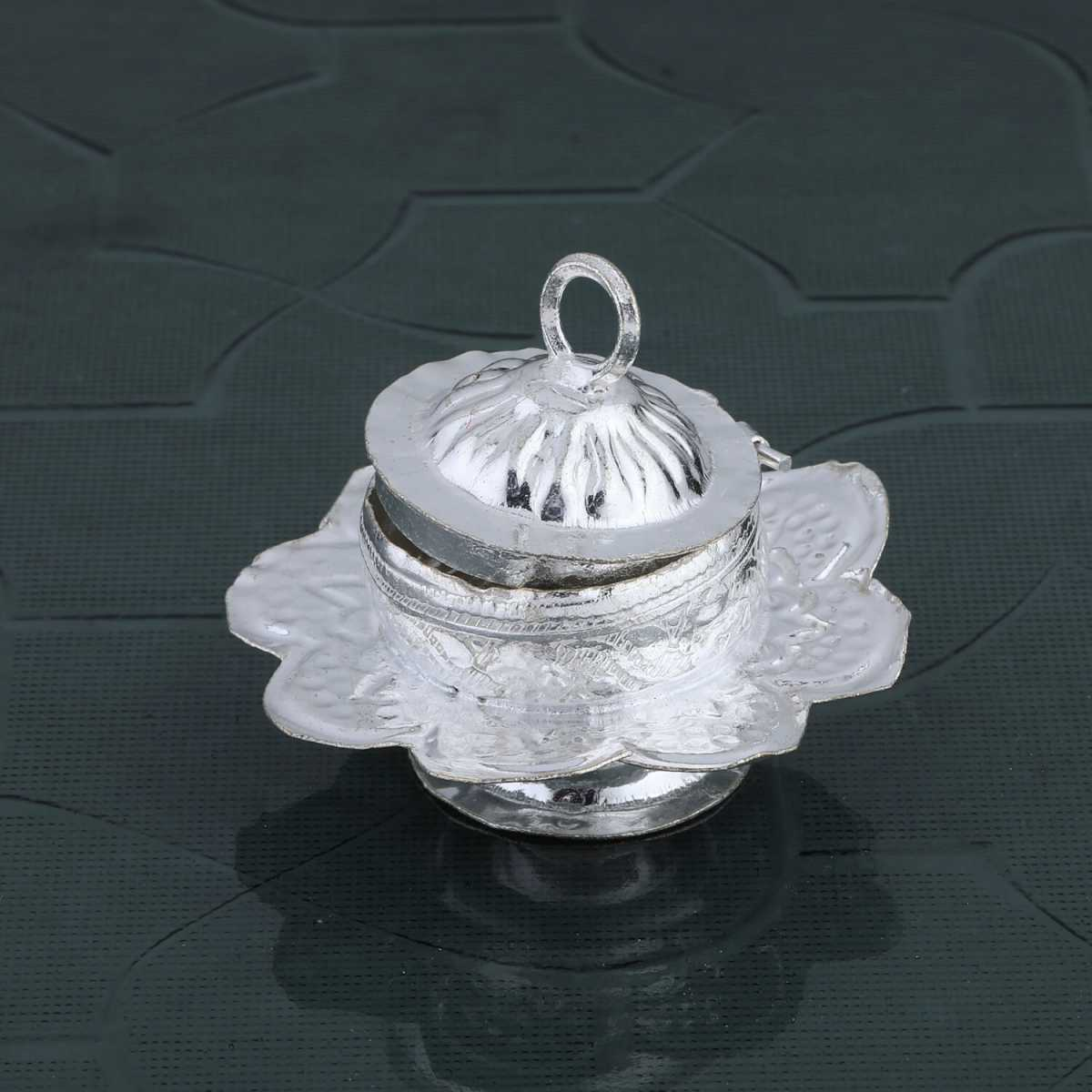 Silver Shine Silver Plated  Flower Design Kankavati/Sindoor Dabbi Set of 1
