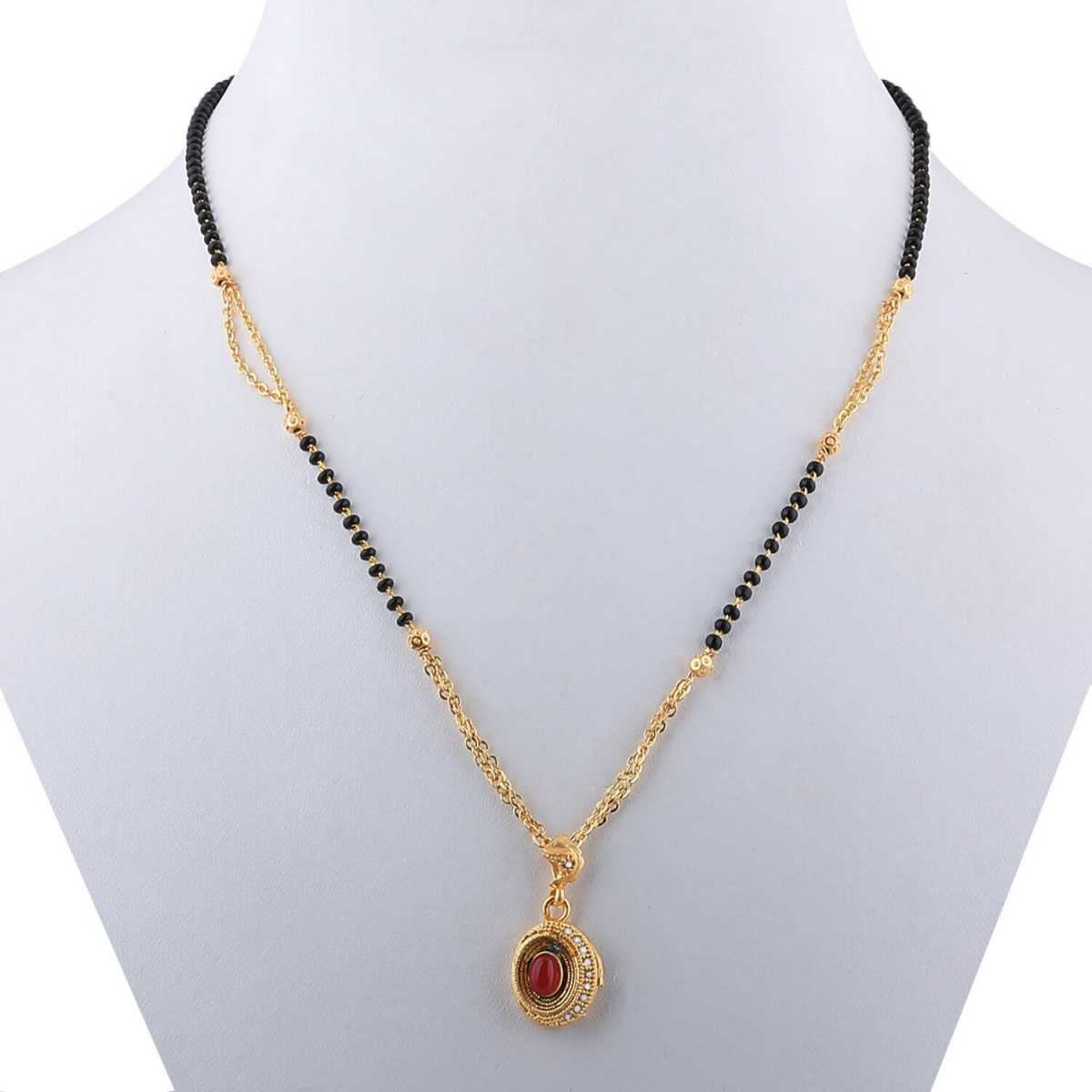 SILVER SHINE Delicated Oval Shape Pandent Gold Plated Mangalsutra For Women