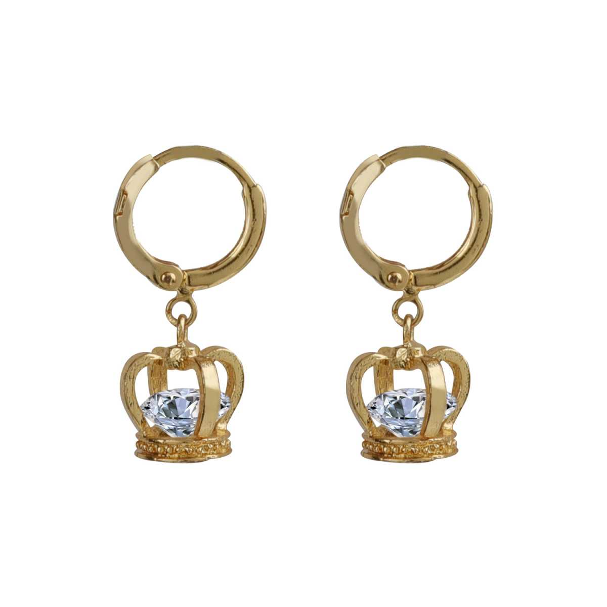 Silver Shine Gorgeous Gold Superb Polished Crown Design Hoop Bali Earring With Diamond For Girl And Women