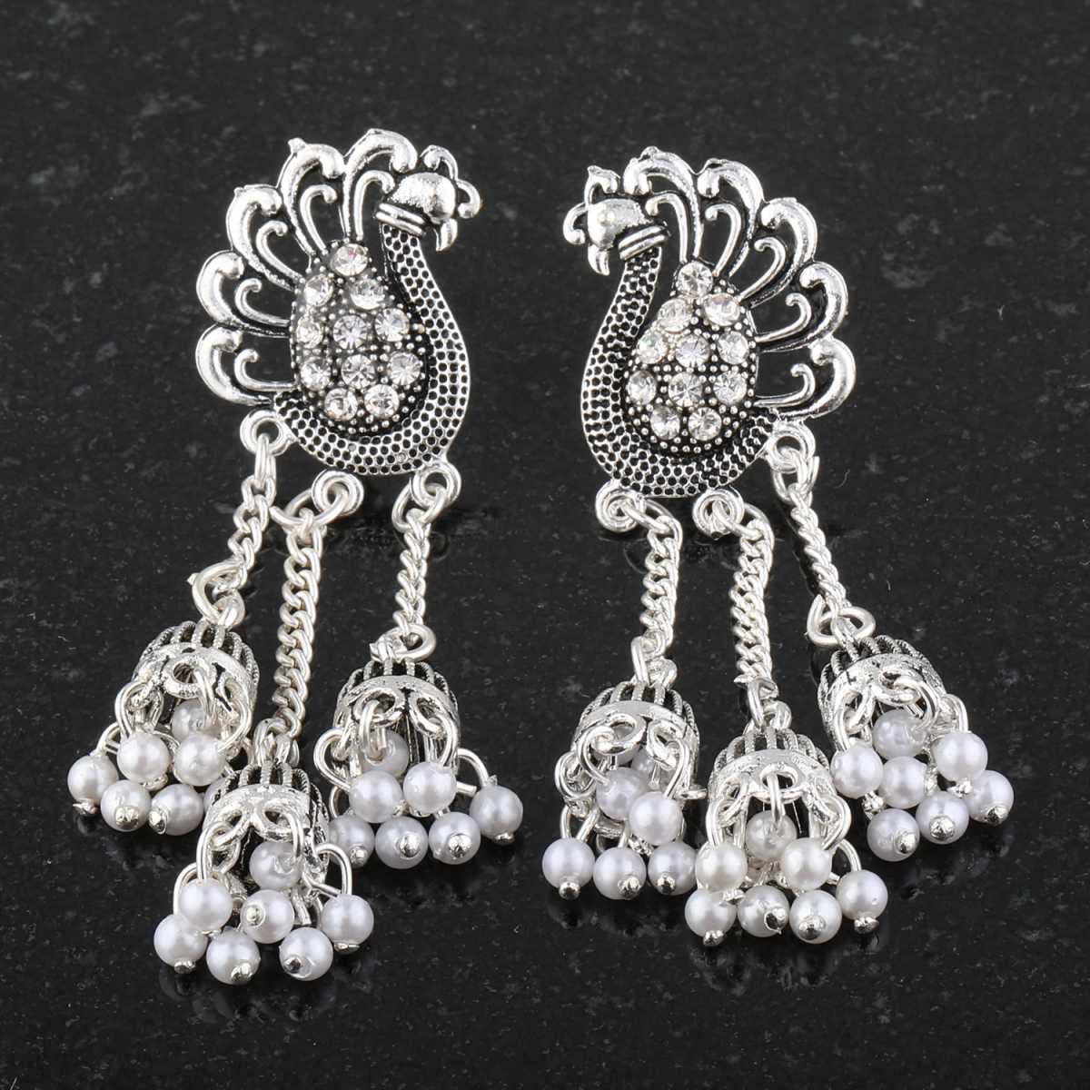 silver shine Dazzling Peacock Tassel Jhumki