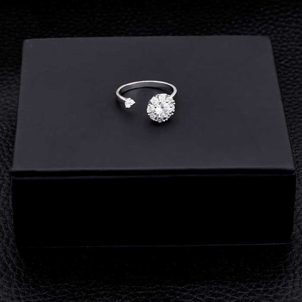 New Flower With Diamonds Open Ring
