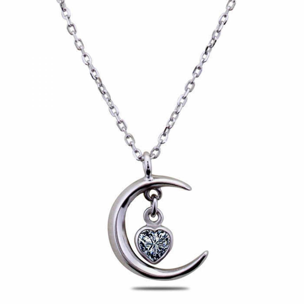 Moon With Hanging Silver Heart Chain