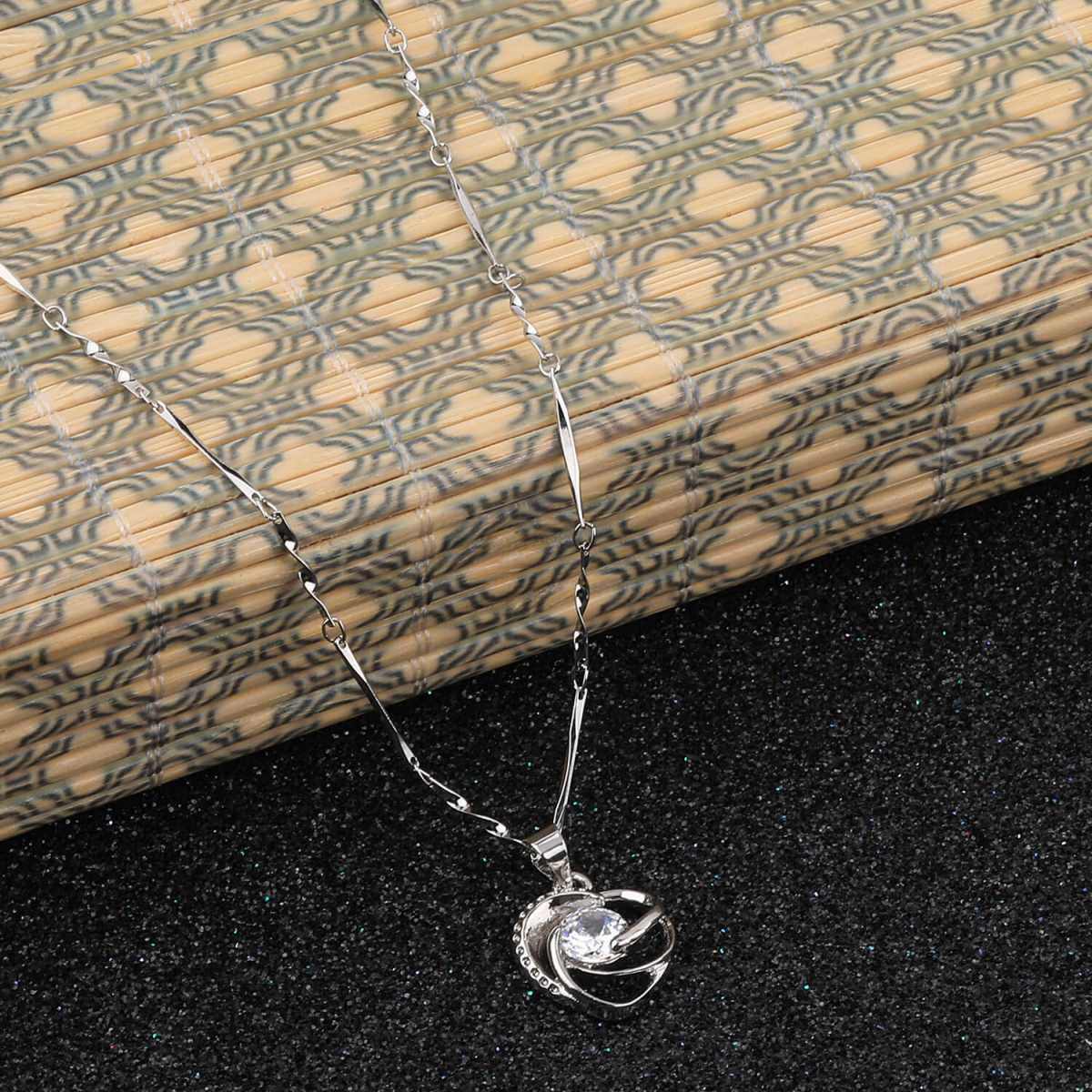 SILVER SHINE Silver Plated Stylish Chain With Heart Shape  Solitaire Diamond Pendant For Women