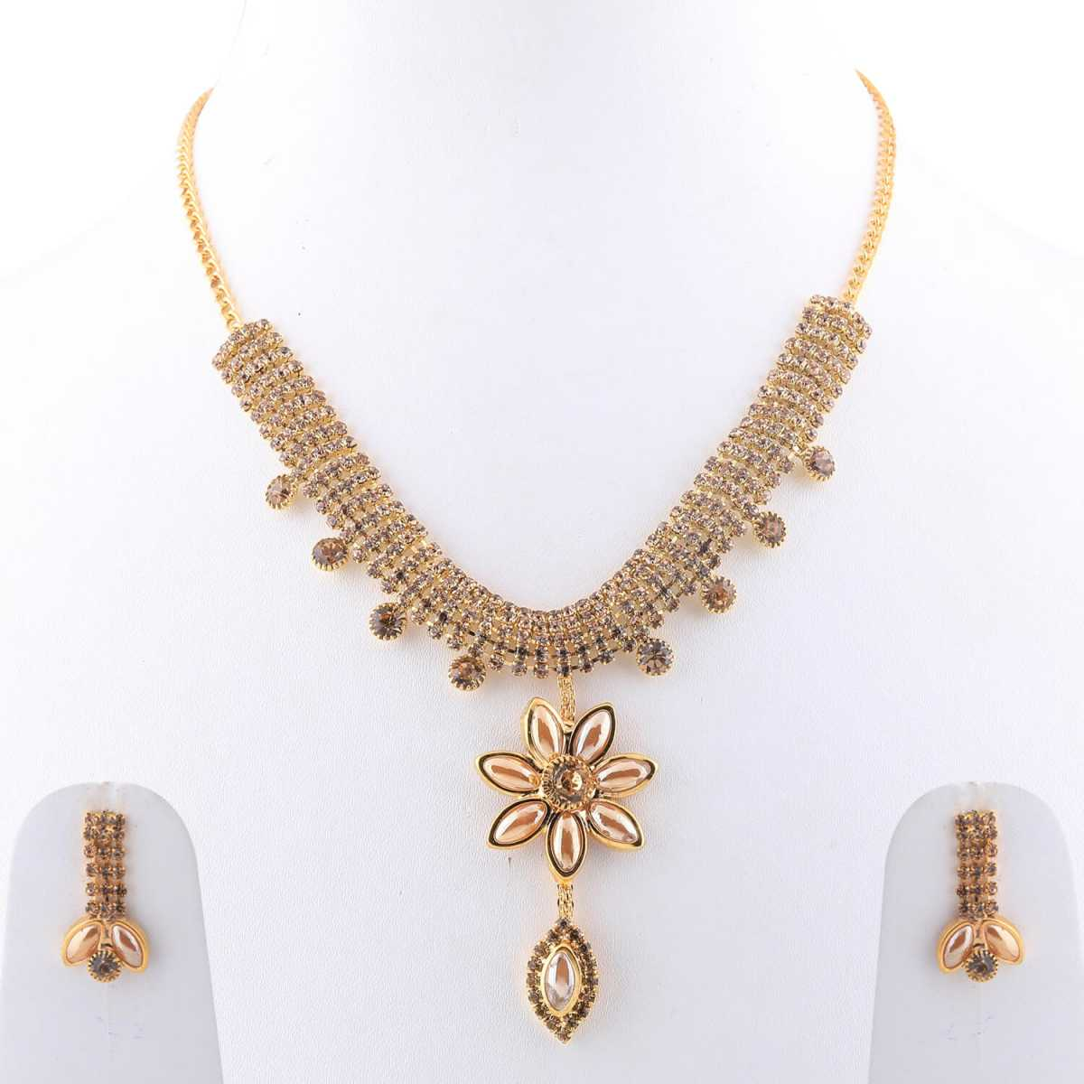 SILVERSHINE Goldplated Designer Traditional Diamond  Necklace for women jewellery