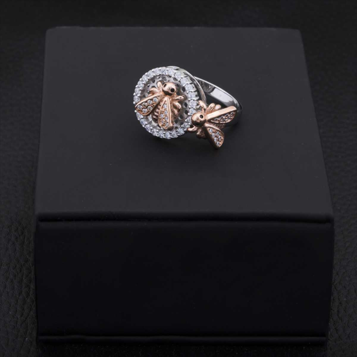 Bee Silver And Rose Gold Cocktail Ring