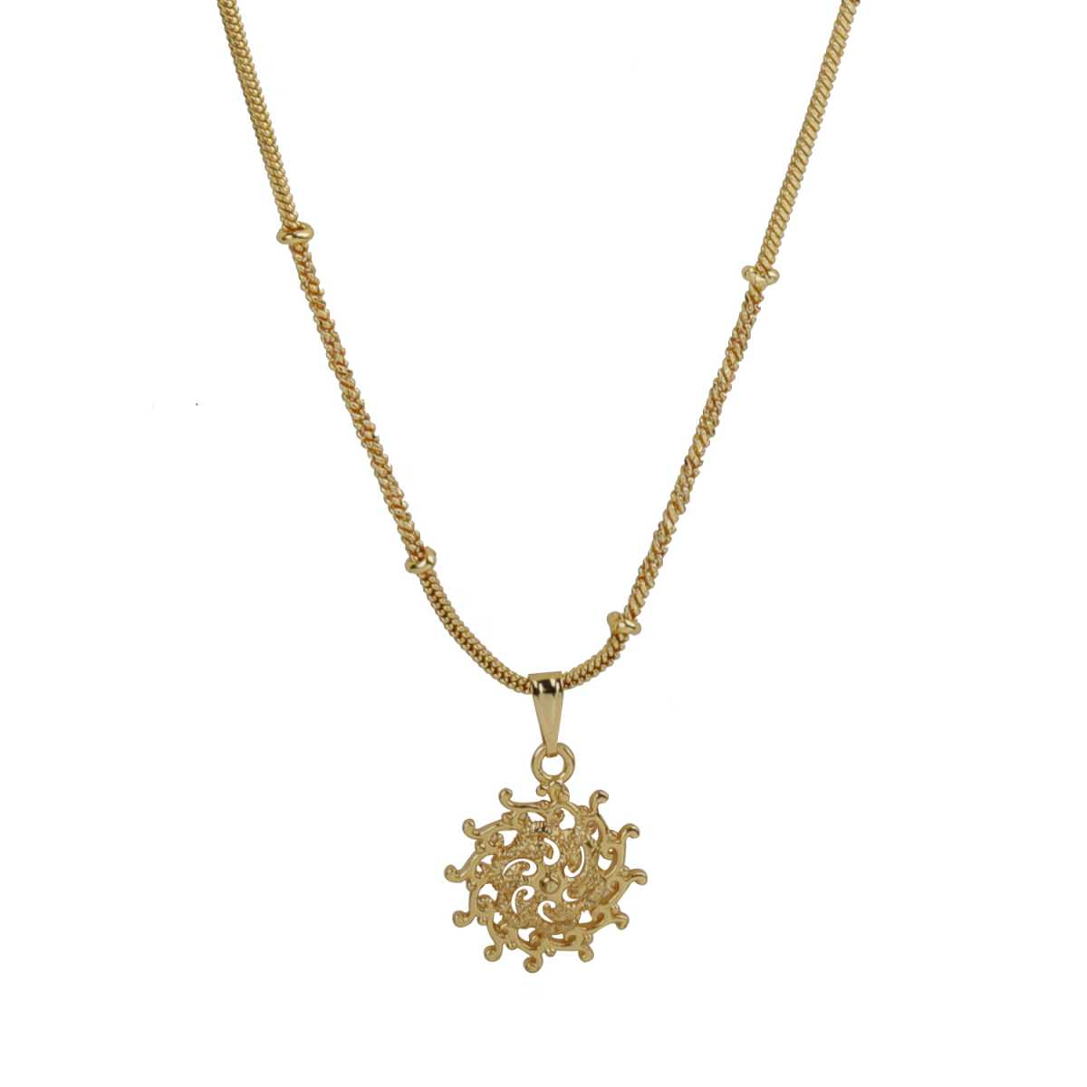 Eye-Catching Gold Sun Pendent Neckless Of 11.5 Inch Chain Pretty Look For Girls And Women Jewellery