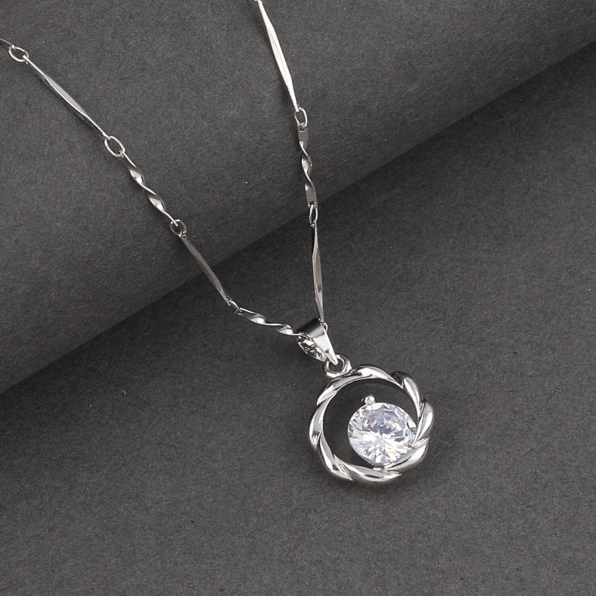 SILVER SHINE  Silver Plated Delicated Chain With Simple Round Solitaire Diamond Pendant For Women