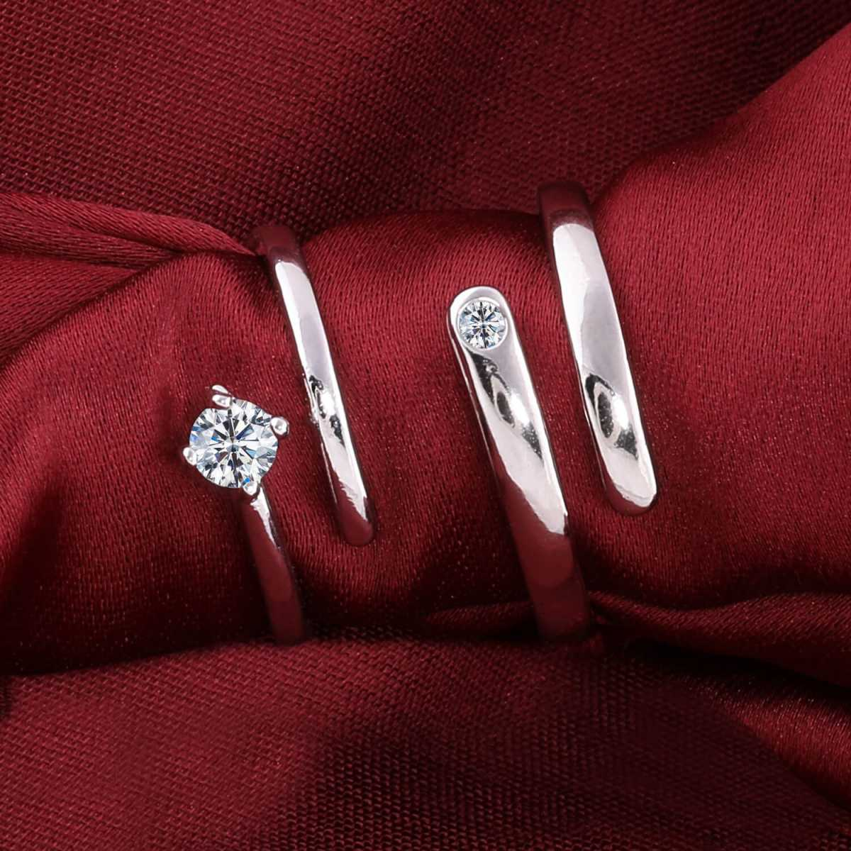 Silverplated Amazing Solitaire His and Her Adjustable proposal couple ring For Men And Women Jewellery